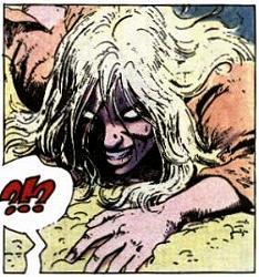 Aaricia, żona Thorgala, opętana przez demona Alinoe. Kadr z ósmego tomu serii, Alinoe. Wydawnictwo Orbita, 1989.