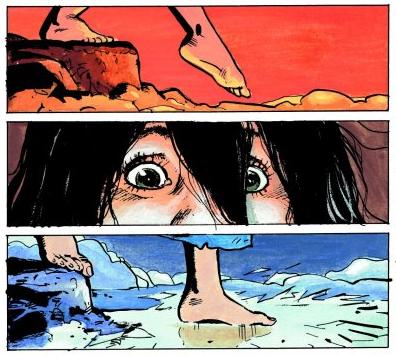 Louve, córka Thorgala, schodzi do jeziora lawy w Arachnei, 24. tomie cyklu. Wydawnictwo Egmont, 2000.