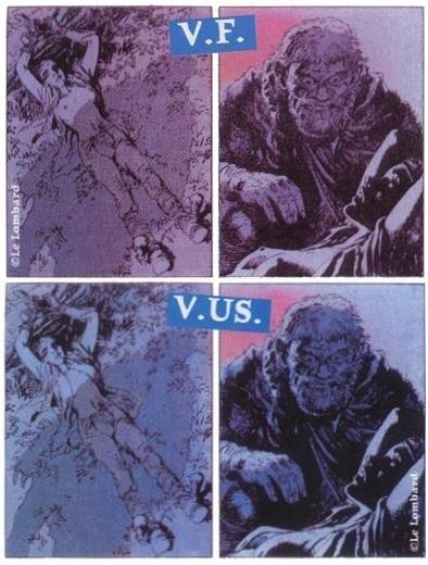 Piersi Kriss w wersji francuskiej (na górze) i amerykańskiej (na dole). Kadr z Łuczników, tomu dziewiątego. Źródło: www.thorgal.pl