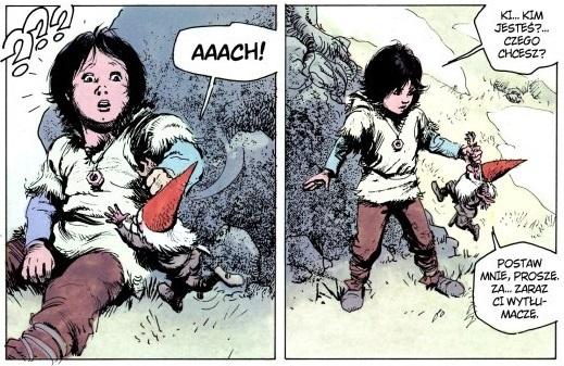 Pierwsze spotkanie Thorgala z krasnalem Tjahzim. Kadry z siódmego tomu serii, Gwiezdne dziecko. Wydawnictwo Orbita, 1989.