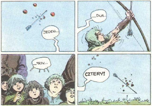 Tjall bierze udział w turnieju łuczniczym. Kadry z Łuczników, tomu dziewiątego. Wydawnictwo Orbita, 1989.