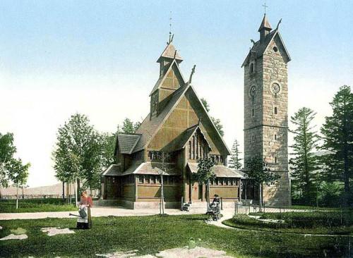 Kościół Wang w Karpaczu Górnym, pocztówka z 1900 roku.
